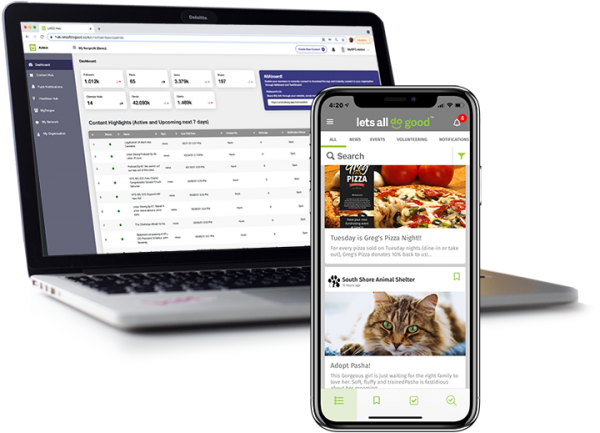 LADG app laptop admin screen and phone