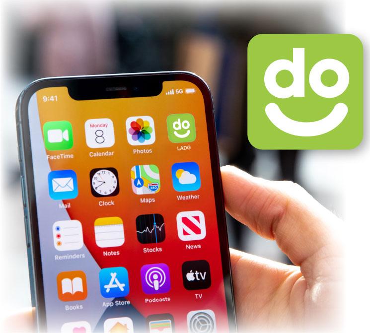 LADG app screen in hand
